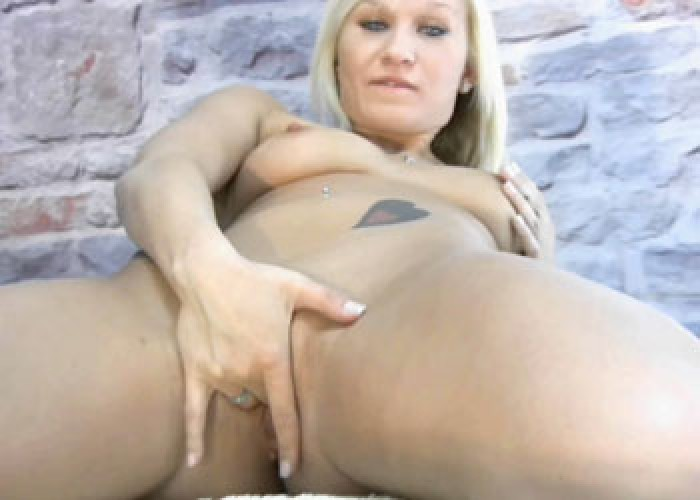 Horny blonde Hailey fingers her twat